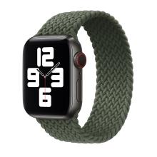 Řemínek pro Apple Watch 44mm Series 4 / 5 / 6 / SE / 42mm 1 / 2 / 3 - bez spony - nylonový - velikost M - tmavě zelený
