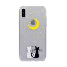 Kryt pro Apple iPhone X / Xs- gumový - průhledný s třpytkami - zamilované kočky a hvězdy