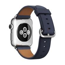 Řemínek pro Apple Watch 44mm Series 4 / 5 / 42mm 1 2 3 - kožený - tmavě modrý