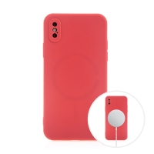 Kryt pro Apple iPhone X / Xs - MagSafe magnety - silikonový - červený
