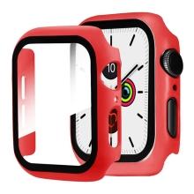 Tvrzené sklo + rámeček pro Apple Watch 44mm Series 4 / 5 / 6 / SE - červený