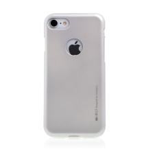 Kryt MERCURY Jelly pro Apple iPhone 7 / 8 - výřez pro logo - gumový - stříbrný