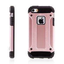 Kryt pro Apple iPhone 5 / 5S / SE - plasto-gumový / antiprachové záslepky - Rose Gold