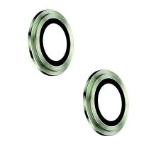 Tvrzené sklo (Tempered Glass) + hliníkový kroužek pro Apple iPhone 12 / 12 mini - na čočku kamery - zelené