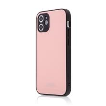 Kryt FORCELL Glass pro Apple iPhone 12 mini - gumový / skleněný - růžový