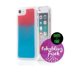 Kryt TACTICAL Glow pro Apple iPhone 6 / 6S / 7 / 8 / SE (2020) - pohyblivý svíticí písek - plastový - červený / modrý