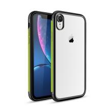 Kryt pro Apple iPhone Xr - plastový / gumový - průhledný / černý - zelený proužek