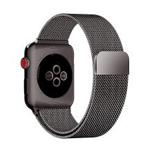 Řemínek pro Apple Watch 40mm Series 4 / 5 / 6 / SE / 38mm 1 / 2 / 3 - nerezový - tmavě šedý