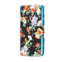 Pouzdro pro Apple iPhone 6 / 6S / 7 / 8 / SE (2020) - umělá kůže - retro květiny / modré