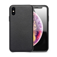 Kryt QIALINO pro Apple iPhone Xs Max - pravá kůže - černý