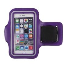 Sportovní pouzdro pro Apple iPhone 6 / 6S / 7 / 8 / SE (2020) - fialové s reflexním pruhem