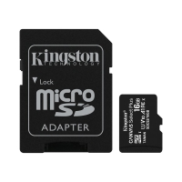 Paměťová karta micro SD HC KINGSTON 16 GB Canvas select Plus (class 10, UHS-I, 100 MB/s) + adaptér