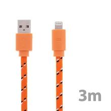 Synchronizační a nabíjecí kabel Lightning pro Apple iPhone / iPad / iPod - tkanička - plochý oranžový - 3m