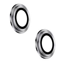 Tvrzené sklo (Tempered Glass) + hliníkový kroužek pro Apple iPhone 12 / 12 mini - na čočku kamery - stříbrné