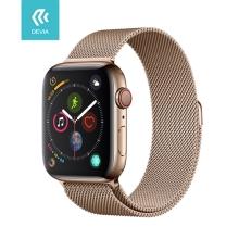Řemínek DEVIA pro Apple Watch 40mm Series 4 / 5 / 6 / SE / 38mm 1 / 2 / 3 - nerezový - zlatý