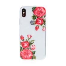 Kryt BABACO pro Apple iPhone Xs Max - gumový - průhledný - růže