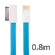 Synchronizační a nabíjecí USB kabel s 30pin konektorem pro Apple iPhone / iPad / iPod - modrý - 0,8m