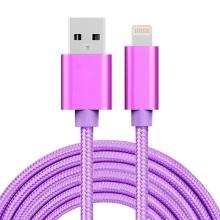 Synchronizační a nabíjecí kabel - Lightning pro Apple zařízení - tkanička - kovové koncovky - fialový - 3m