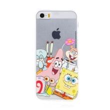 Kryt Sponge Bob pro Apple iPhone 5 / 5S / SE - gumový - Sponge Bob s kamarády