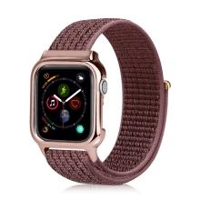 Řemínek pro Apple Watch 44mm Series 4 + pouzdro - nylonový - tmavě růžový