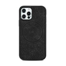 Kryt pro Apple iPhone 12 / 12 Pro - mandala - MagSafe kompatibilní - umělá kůže - černý
