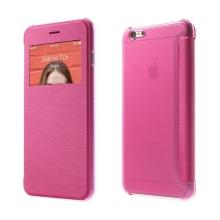 Flipové pouzdro pro Apple iPhone 6 Plus / 6S Plus s průhledným prvkem / výřezem pro displej - růžové