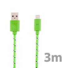 Synchronizační a nabíjecí kabel Lightning pro Apple iPhone / iPad / iPod - tkanička - zelený - 3m