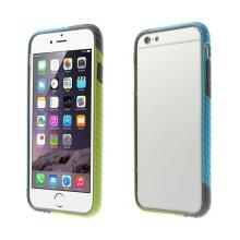 Plasto-gumový rámeček / bumper pro Apple iPhone 6 / 6S - vroubkatý modro-zeleno-šedý