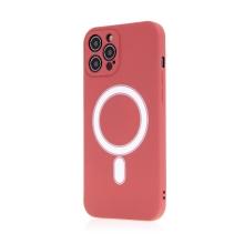 Kryt pro Apple iPhone 12 Pro Max - Magsafe - silikonový - červený