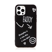 Kryt pro Apple iPhone 12 / 12 Pro - Enjoy every day - gumový - černý