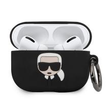 Pouzdro KARL LAGERFELD pro Apple AirPods Pro - silikonové - černé