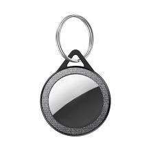 Kryt / obal pro Apple AirTag - kovová karabina - látkový / plastový - šedý