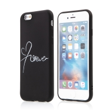 Kryt pro Apple iPhone 6 / 6S - gumový - černý - nápis Forever