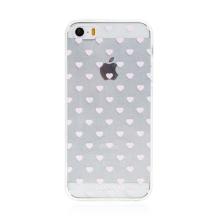 Kryt BABACO pro Apple iPhone 5 / 5S / SE - gumový - srdíčka - průhledný