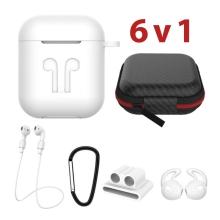 Sada 6v1 pro Apple Airpods - silikonová - bílá