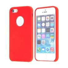 Kryt pro Apple iPhone 5 / 5S / SE - gumový - příjemný na dotek - výřez pro logo - červený