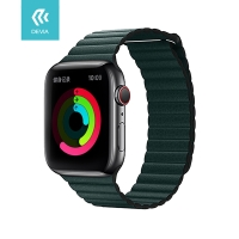 Řemínek DEVIA pro Apple Watch 44mm Series 4 / 5 / 42mm 1 2 3 - umělá kůže - temně zelený