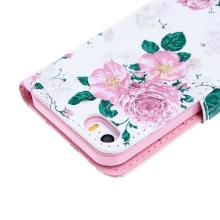 Pouzdro pro Apple iPhone 5 / 5S / SE - stojánek + prostor pro platební karty - růže