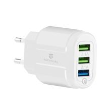 Nabíječka / EU napájecí adaptér TACTICAL - 3x USB - 15W - bílý