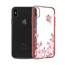 Kryt KAVARO pro Apple iPhone X - s kamínky Swarowski - plastový - motýl a květiny - průhledný / červený