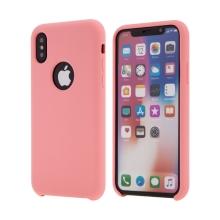 Kryt pro Apple iPhone X - gumový - příjemný na dotek - výřez pro logo - růžový