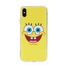 Kryt Sponge Bob pro Apple iPhone Xs Max - gumový - vysmátý Sponge Bob