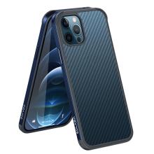 Kryt SULADA pro Apple iPhone 12 Pro Max - gumový / kovový - karbonová textura - průhledný - mořsky modrý