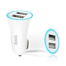 Nabíječka do auta HOCO s 2 USB porty (2.4A) - bílá