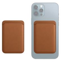 Pouzdro na platební karty s MagSafe uchycením pro Apple iPhone - umělá kůže - hnědé