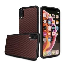 Kryt pro Apple iPhone Xr - gumový - karbonová textura - červený