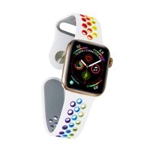 Řemínek pro Apple Watch 44mm Series 4 / 5 / 6 / SE / 42mm 1 / 2 / 3 - velikost S / M - silikonový - bílý / duhový