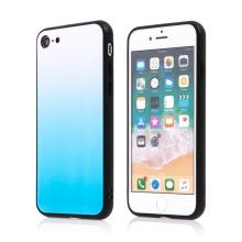 Kryt pro Apple iPhone 7 / 8 / SE (2020) - barevný přechod a lesklý efekt - gumový / skleněný - modrý / růžový