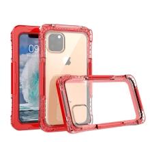 Pouzdro pro Apple iPhone 11 Pro Max - voděodolné - plast / silikon - průhledné / červené