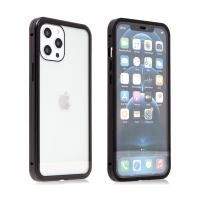 Kryt pro Apple iPhone 12 / 12 Pro - magnetické uchycení - sklo / kov - 360° ochrana - průhledný / černý